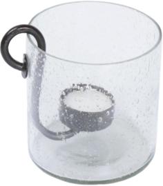 """Glazen vaas met metalen kaarsenhouder """"Ties"""""""