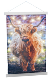 Wandkleed Schotse Hooglander met LED 40x60 cm