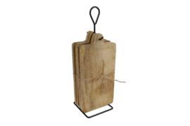 Broodplank (borrelplankje) met standaard XL naturel  hout 35x12x10cm