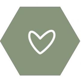 Muur hexagon hart olijfgroen