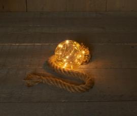 Glazen bal 10 cm  met 8 LED's