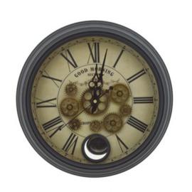 Klok met tandwielen zwart 40,5 cm