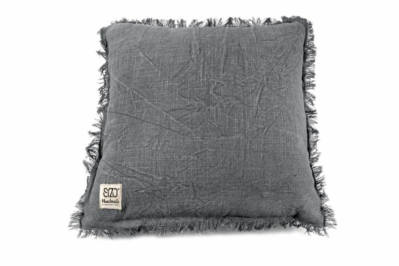 SIZO kussen denim-grey met vulling 45 x 45cm