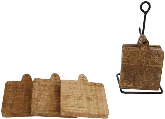 Onderzetters 6 stuks met metalen frame 11x22cm