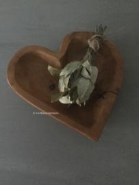 Teak houten schaaltje hart PTMD.