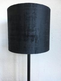 Cilinderkap lampenkap velvet, kleur zwart mêlee