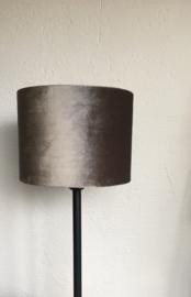 Cilinderkap lampenkap velvet, kleur zinc-taupe