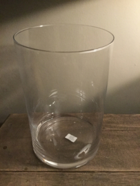Glazen windlicht rond 19 cm. x 20 cm. hoog