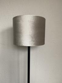 Cilinder lampenkap velvet, kleur zinc space dust ( 20x15 cm. )