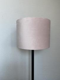 Cilinder lampenkap velvet, kleur licht roze