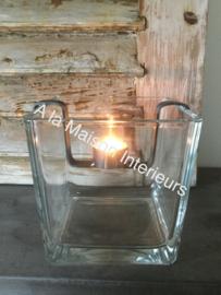Glazen windlicht vierkant 19 cm.