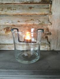 Glazen windlicht rond, 19 cm.