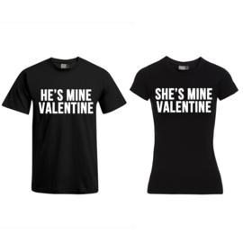 T-shirt He's Mine Valentine & She's Mine Valentine