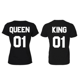 T-shirt King & Queen + ryg nummer