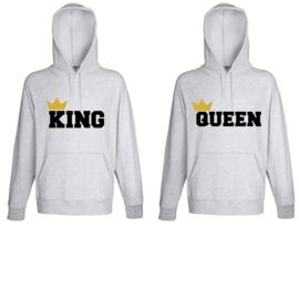 Hoodie King & Queen + Kroontje 2k18 (Grijs)