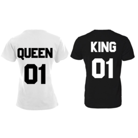 T-shirt King & Queen + rugnummer (Black&White)