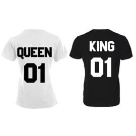 T-shirt King & Queen + ryg nummer (Sort&Hvid)