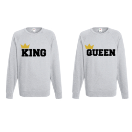 Sweater King & Queen + Couronne 2k18 (Gris)