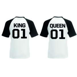 T-shirt King & Queen + ryg nummer (Sort/Hvid)