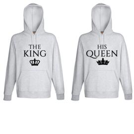 Hoodie The King & His Queen + Kroontje (Grijs)