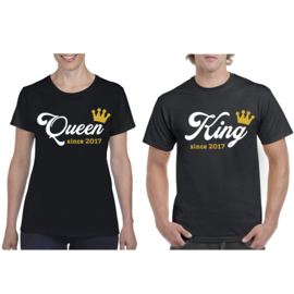 T-shirt King & Queen since + Krone