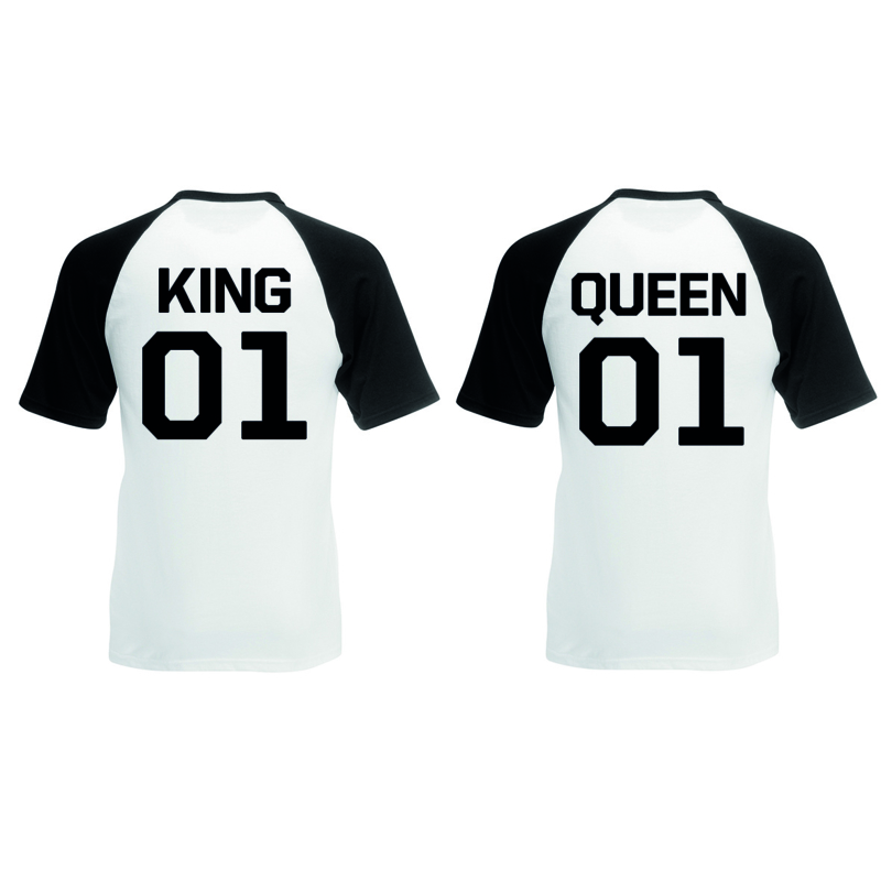 T-shirt King & Queen + ryg nummer (Sort/Hvid)