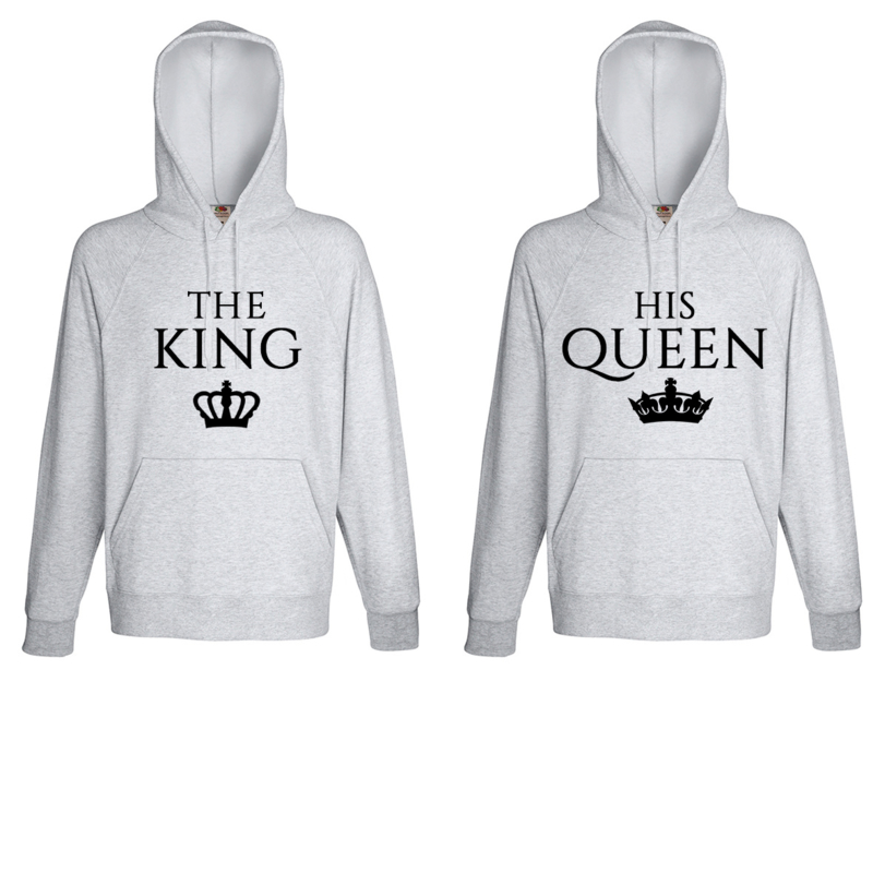 Hoodie The King & His Queen + Couronne (Gris)