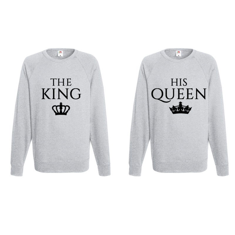 Sweater King & Queen + Couronne (Gris)