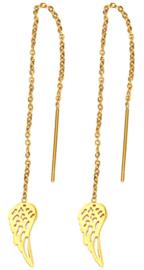Oorbel chain vleugels goudkleur