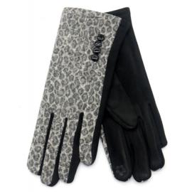 Handschoen panterprint grijs