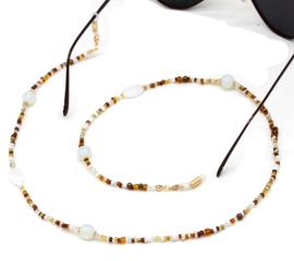 Zonnebrilkoord beads bruin