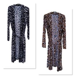 Kimono panterprint zwart of bruin