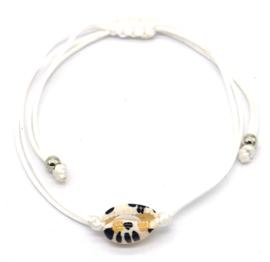 Armband met panterschelp  (wit, beige of zwart)