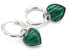 Oorbellen hart malachite groen