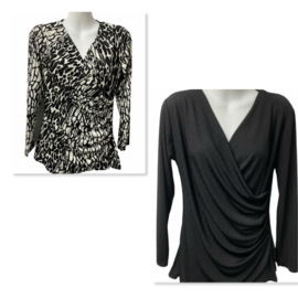 Overslag shirt zwart of zwart/wit
