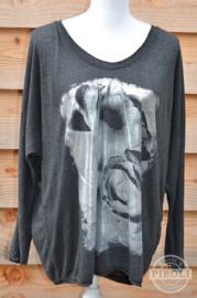 Shirt met zilverprint antraciet