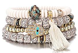 Set lava armbanden wit