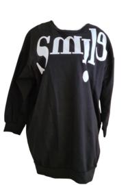 Lange trui met Smile zwart