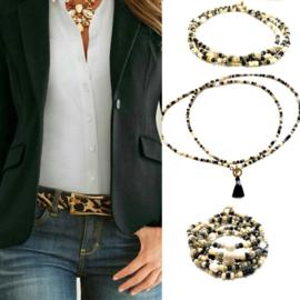 Ketting/armband zwart/wit parels