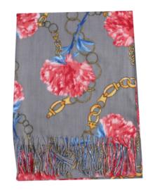 Sjaal bloem grijs