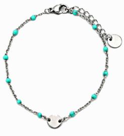 Armband Aqua/zilverkleur rondje RVS