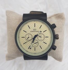 Heren horloge Giorgio Zwart/creme