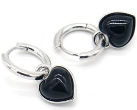 Oorbellen hart onyx zwart