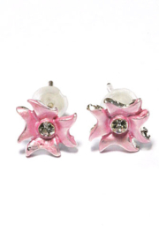Kinder oorbel bloem licht roze