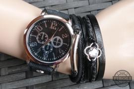 Set horloge plus 2 armbanden zwart