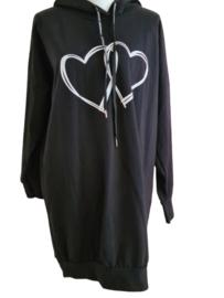 Hoodie trui/jurk hartjes zwart of groen