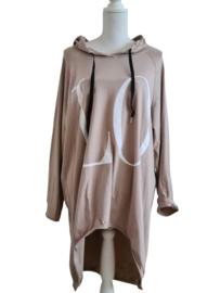Oversized hoodie Love beige