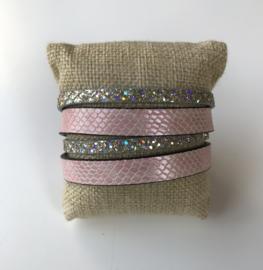 Armband roze  en glitter