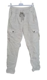 Stretch broek met zijzakken beige
