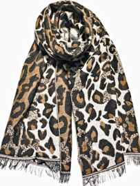 Sjaal soft leopard bruin/wit